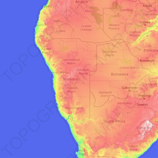 Namibia topographic map, relief map, elevations map