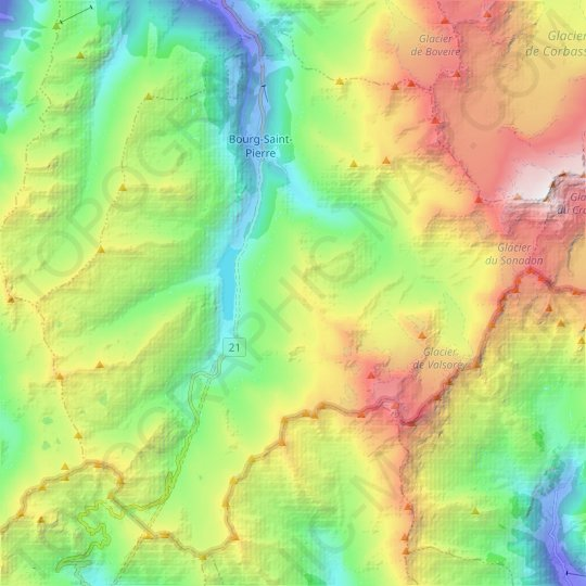 Bourg-Saint-Pierre topographic map, elevation, relief