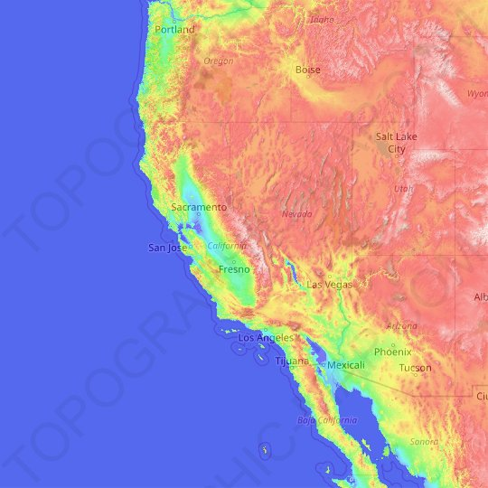 California topographic map, relief map, elevations map