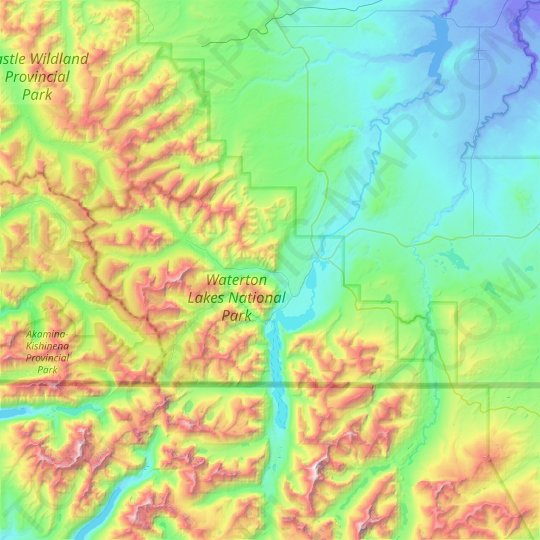 Waterton Lakes National Park topographic map, relief map, elevations map