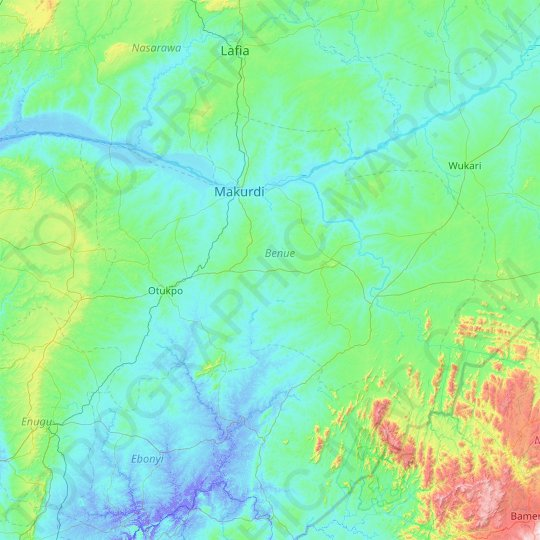 Benue topographic map, elevation, relief