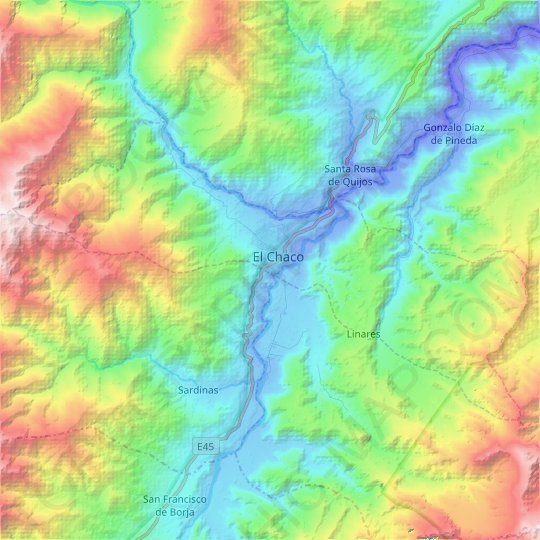 El Chaco topographic map, relief map, elevations map