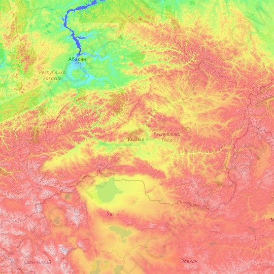 Tuva Republic topographic map, relief map, elevations map
