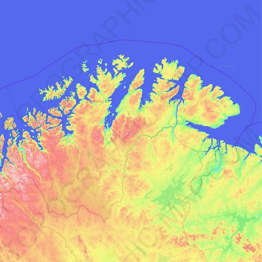 Finnmark topographic map, relief map, elevations map