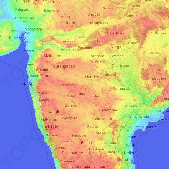 Maharashtra topographic map, relief map, elevations map