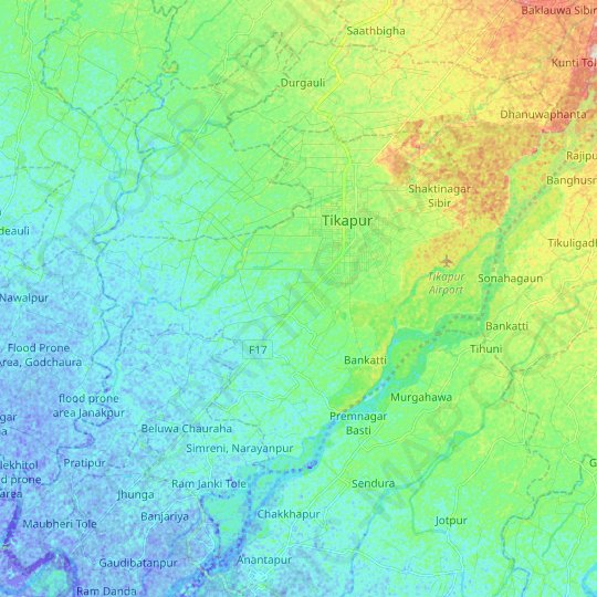 Tikapur topographic map, relief map, elevations map