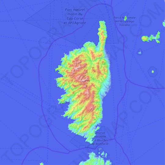 Corsica topographic map, elevation, relief