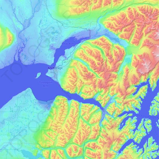 Anchorage topographic map, relief map, elevations map