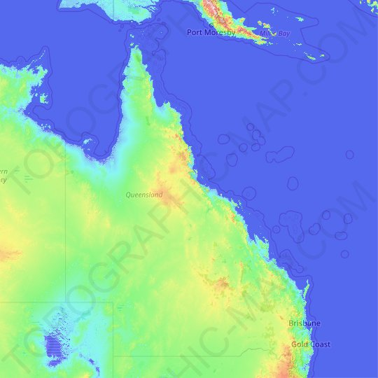 Queensland topographic map, elevation, relief