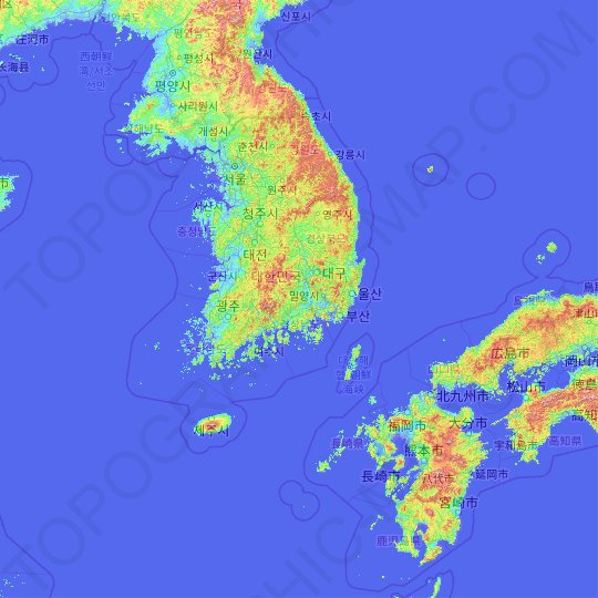 South Korea topographic map, relief map, elevations map