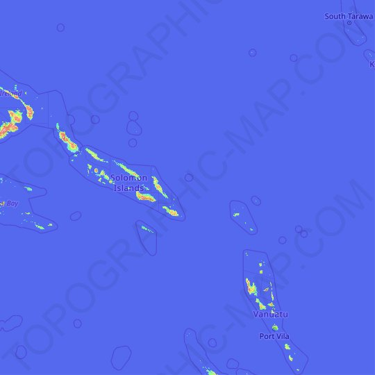 Solomon Islands topographic map, relief map, elevations map