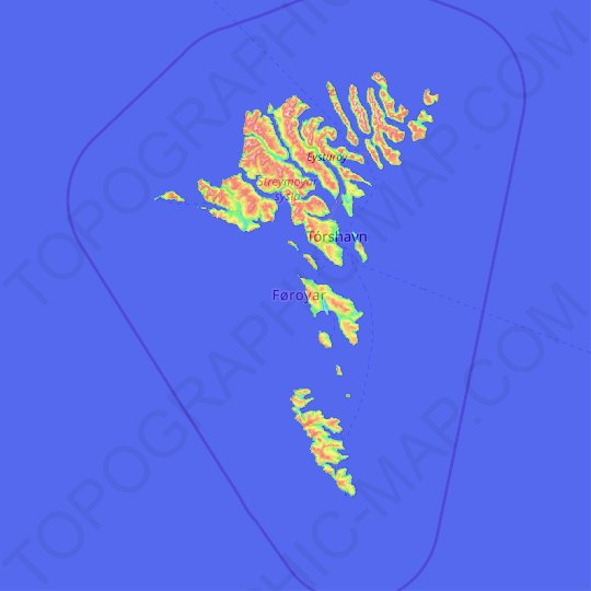 Faroe Islands topographic map, relief map, elevations map