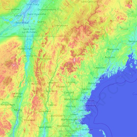 New Hampshire topographic map, relief map, elevations map