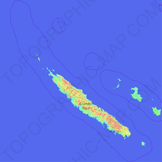 New Caledonia topographic map, elevation, relief